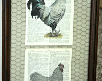 Farmhouse style dictionary art Roosters with burlap and chicken wire in wood frame