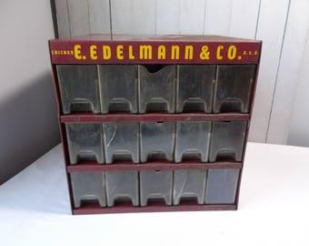 Vintage Industrial Metal Parts Cabinet