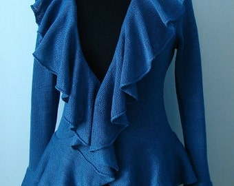 High-quality Natural 100% Linen knitted cardigan with flounces ,,Elegant'' (handmade)