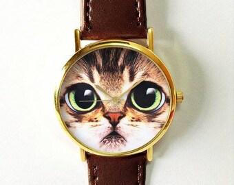 Cat Face Watch, Women Watches, Mens Watch, Leather Watch, Boyfriend Watch, Pet Lover, Cat Fashion, Cat Jewelry, Gold Silver Watch, Rose Gold