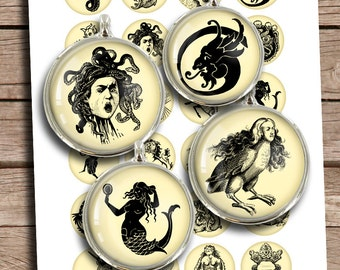 "Legendary Creatures 25mm 1"" 30mm 1.5"" Bottle cap Printables Mythical Creatures Digital Collage Sheet Instant Download"