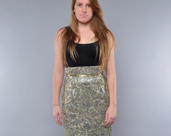 Vintage High Waist Skirt // Metallic Lace Pencil Skirt // Peggy Jennings // M