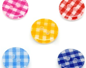 5 small gingham buttons - round 16 mm - 2 holes - multicolored