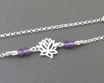 Lotus Necklace, Amethyst Necklace, February birthday, gemstone, birthstone, lotus, sterling silver, healing stone, yoga, natural gemstone