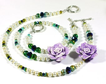 Purple Rose Chunky Assymetrical Statement Necklace - White, Blue and Purple with Gold and Silver accents Gifts for mom - Bridal Accessories