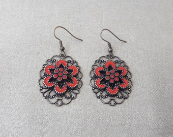 Earrings with red flowers, brass stamping