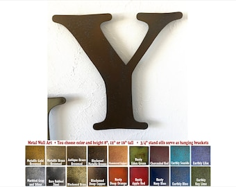 """Metal Letter Y - 8"""", 12"""", 16"""" or 22"""" inch tall - Handmade metal wall art - Choose your Patina Color, Size and Letter or Number - Metal Decor"""