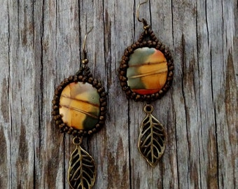 Beaded Statement Earrings - Bead Weaving Jewelry - Dangles - Red Creek Jasper Cabochons