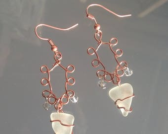 Earrings Genuine Sea Glass Copper Wire wrapped Swarovski Crystals Vancouver Island BC Canada > FREE SHIPPING in Canada