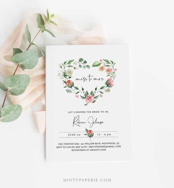 Bridal Shower Invitation Template, INSTANT DOWNLOAD, Miss to Mrs, Printable Heart Wreath Wedding Shower Invite, 100% Editable Text 058-157BS