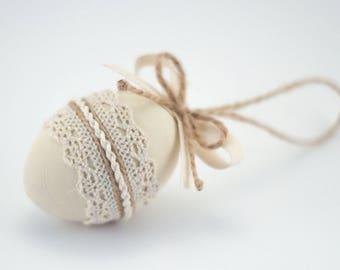 Wooden Easter Egg, White Easter Gift, Spring Decor, Easter Basket Stuffers, Easter Home Decor