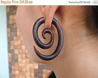 ON SALE Fake Gauges - Elongated Spirals - Wood Earrings - Faux Gauges - Split Gauge Earrings, Free Shipping