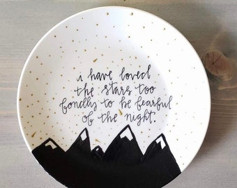 Lettered Plate, Hand Painted Plate, Hand Drawn, Hand Illustrated, Decorative Plate, Wall Plate, Decorative Platter, Mountain Scene