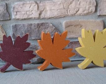 Set of 3 FALL LEAF BLOCKS for Fall, Autumn, shelf, desk, office and home decor