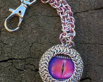 Purple Dragon Eye Chainmaille Keychain