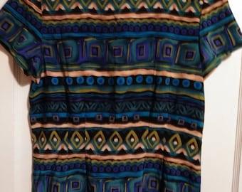 Vintage Women's Short Sleeve Day Dress Size 8