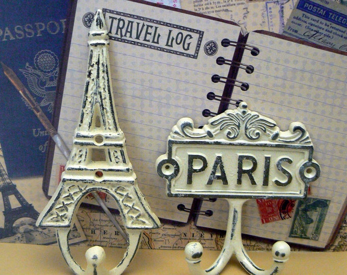 Eiffel Tower Paris Cast Iron Pair Wall Hooks OFF White French Shabby Chic Home Decor
