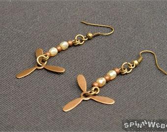 Steampunk Propeller Earrings - bronze, copper, cream, czech glass, metal beads, metal, handmade