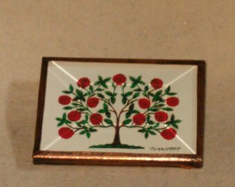 "Vintage Signed WSW 1999 2"" By 1.5"" Copper Framed Blooming Tree Brooch/Pin"