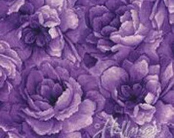 Hoffman -  Belleflower - P7576-14 - Purple - Floral - Screen Print - Tone-on-Tone - One More Yard