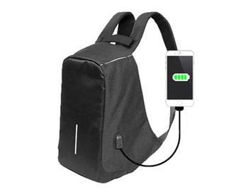 Mens Laptop Backpack College Bag USB Charging Headphone Port 077
