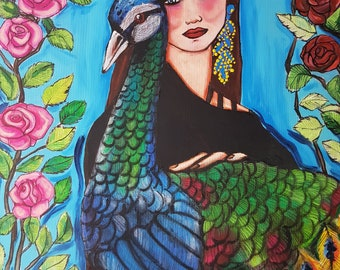 Woman with peacock 80X60 acrylic on canvas