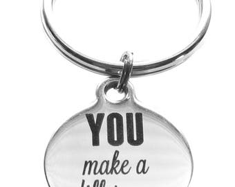 Stainless Steel You Make a Difference Round Charm Keychain Gratitude and Appreciation Gift