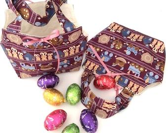 Easter Baskets/Gift Bags, Folk Burgundy & Calico, Quality Hand Made