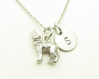 Wolf Necklace, Wolf Charm Necklace, Werewolf, Personalized Initial Necklace, Silver Wolf Necklace, Monogram Necklace Y260