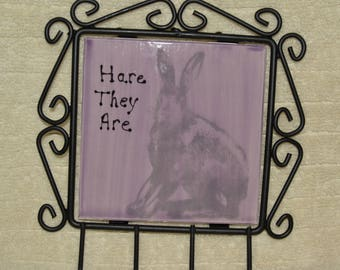 Key Holder, Rabbit, Cast Iron, Ceramic Tile, Purple, Gray, Wildlife, Keys, Wall Hanging, Home Decor
