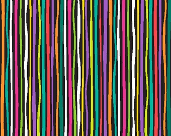 Multi Stripes on Black from Andover Fabric's Rio Collection by Jane Dixon