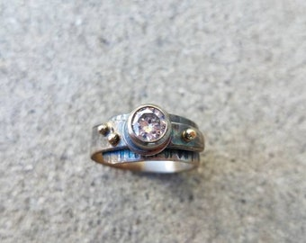 Diamond adjustable bezel set ring