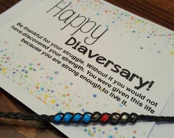 Diaversary bracelet, type 1 diabetes, celebrate, happy diaversary