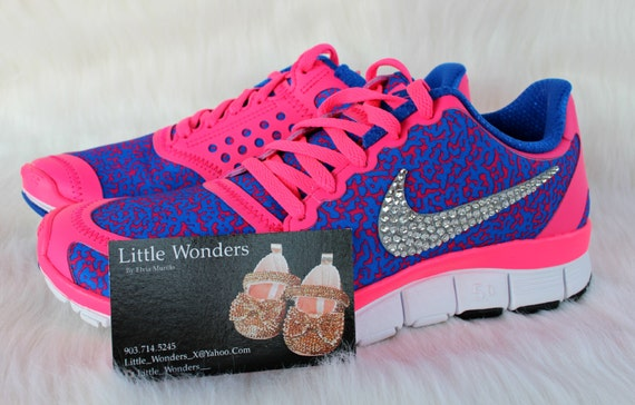 Nike Free 5.0 Hyper Pink & Blue Running Shoes With Swarovski Embellished  Crystals