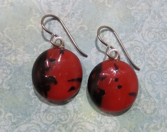 Red Niobium Earring, Red and Black Dangle Earrings, Nickel Free Jewelry, Hypoallergenic, Fused Glass Jewelry, Ready to Ship  - Cheer -6