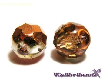 Fire polished Czech Glass Beads 8 mm - Crystal Sunset