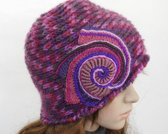 Crochet Beanie, Pink Purple Crochet Beanie, Hat, women's Multi Colour winter hat, beanie with Freeform Crochet Spiral Motif