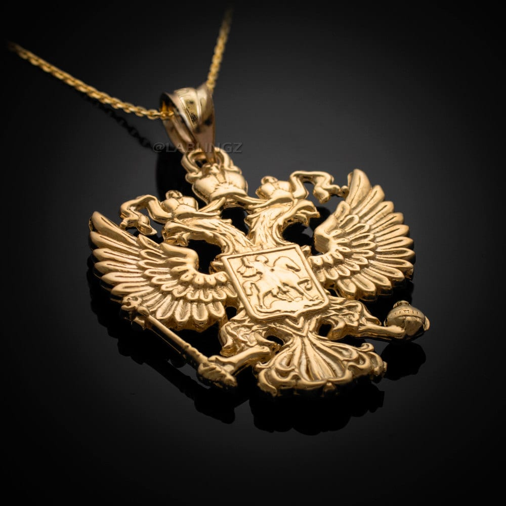 Gold russian coat of arms double headed eagle pendant necklace description gold russian federation coat of arms double headed eagle necklace aloadofball Images
