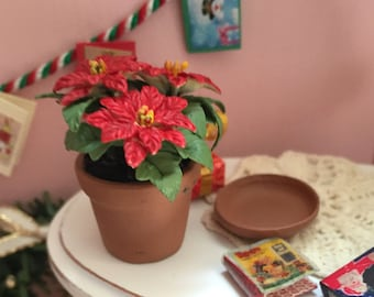 Miniature Poinsettia In Clay Flower Pot With Removable Saucer #00, Dollhouse 1:12 Scale Miniature Flowers, Holiday Decor, Accessory