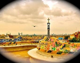 Fly -Spain Print, Gaudi Architecture, Parc Guell, Sunset, Vintage Photography, Barcelona Landscape, Nostalgia, Beautiful Park, Orange Decor
