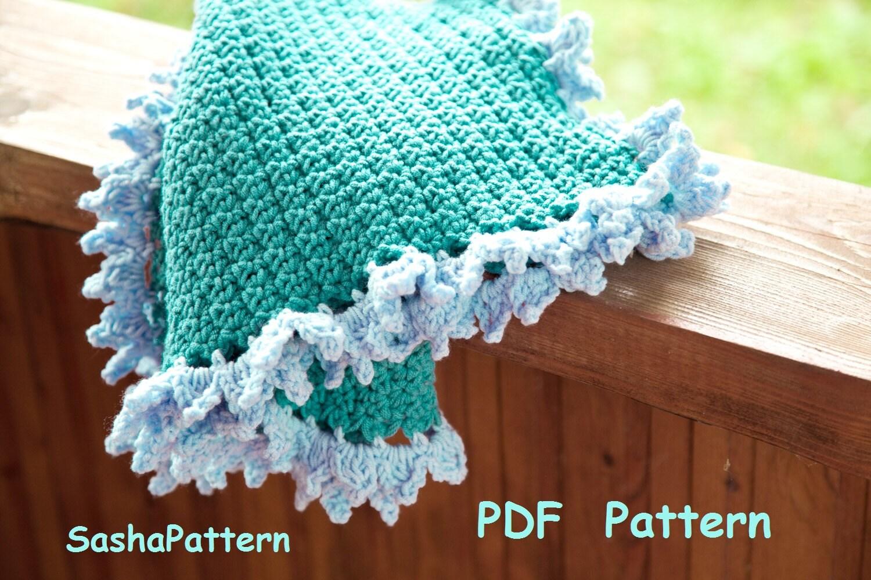 Crochet baby afghan with ruffle edging Crochet Ruffle Border
