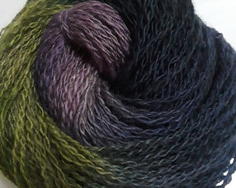 Lot 98, Worsted Handspun Wool Yarn, Merino x Romney - Pansy colorway, Lavender, Navy, Green