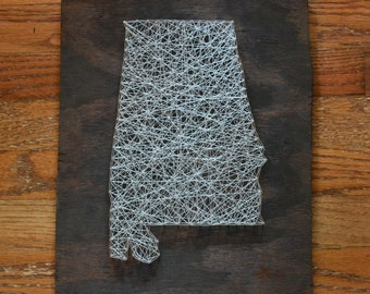 State String Art - Alabama - Stained Wood - Nail Art