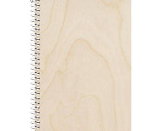 Blank wooden notebook 9.5 by 6 inches college ruled 2 subject notebook
