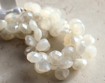 Ivory White Pearl Chalcedony Faceted Heart Briolettes 14mm - 4 inch Strand
