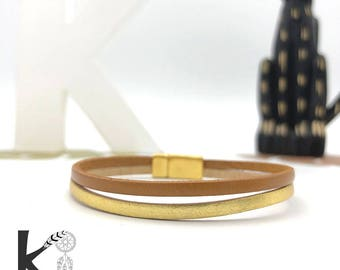 Double Brown camel leather and gold bracelet