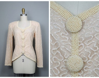 Ivory Pearl Beaded Blouse / Cream Embellished Pearl Art Deco Blouse