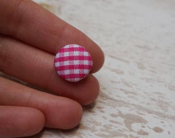 """Set of 20 buttons acrylic and fabric gingham """"1trou"""" (H73)"""