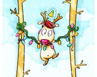 """Digi Stamp Set """"reindeer on chain of Lights"""""""