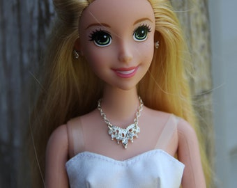 "Princess Wedding Necklace & Earrings Doll Jewelry Set fits 11 1/2 - 12"" 1/6th Scale Fashion Dolls"